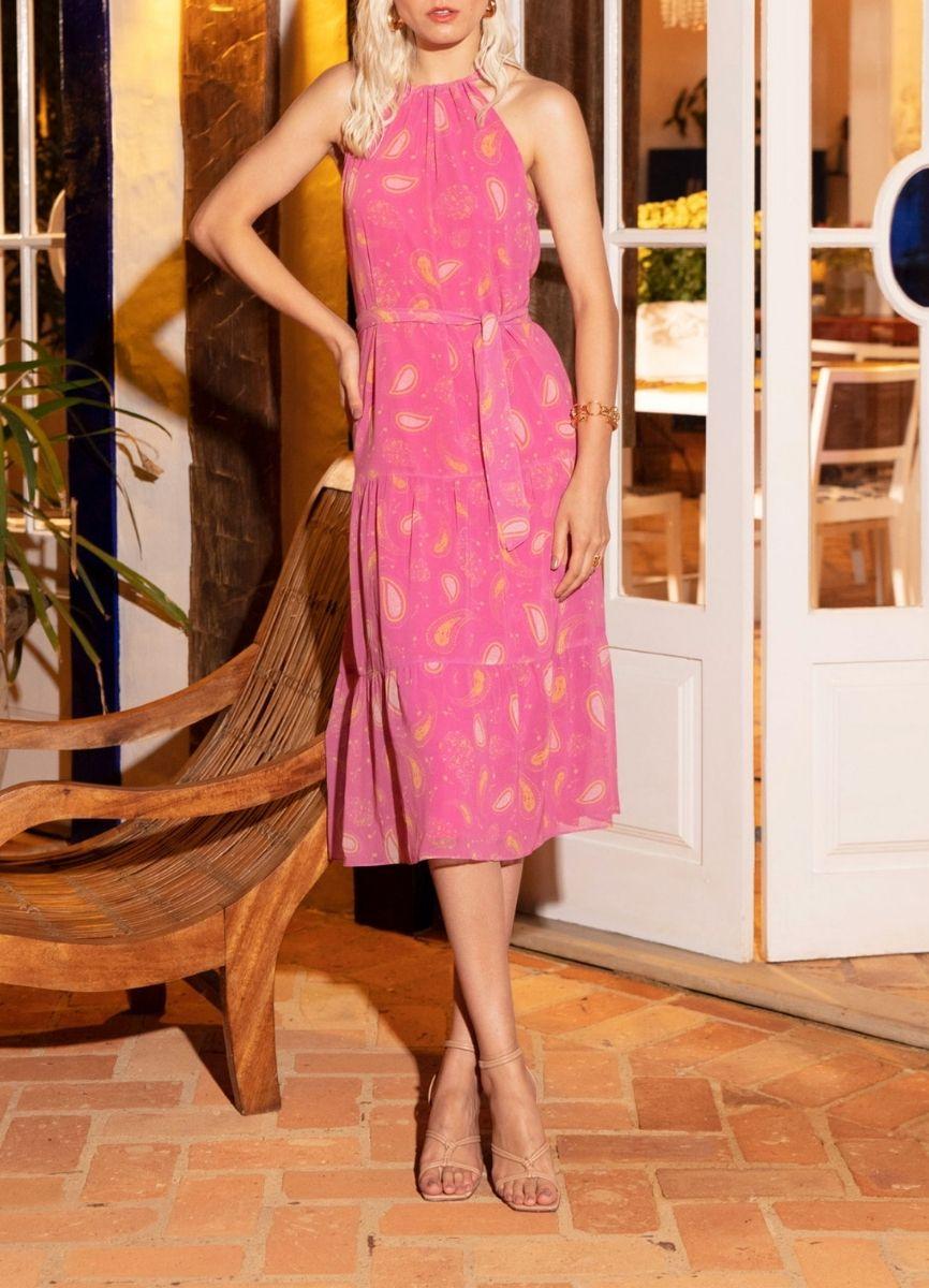 VESTIDO CHIFON LONGO - Rosa pink